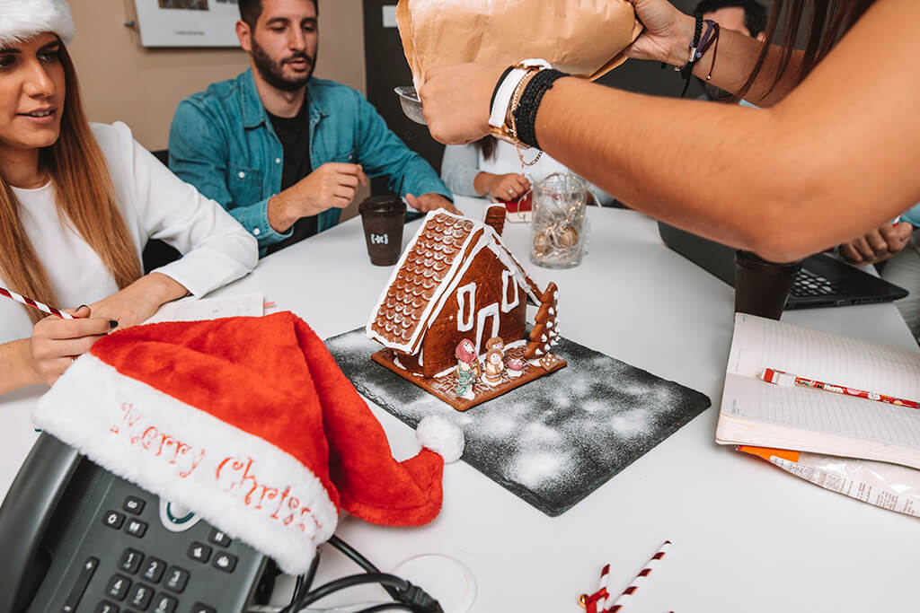 Christmas cookie house at the marketing department