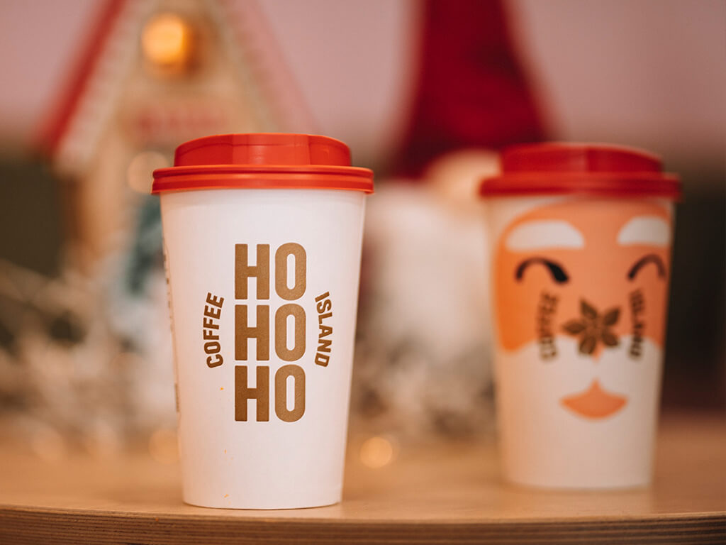 Coffee Island's HOHOHO and Santa Christmas cups