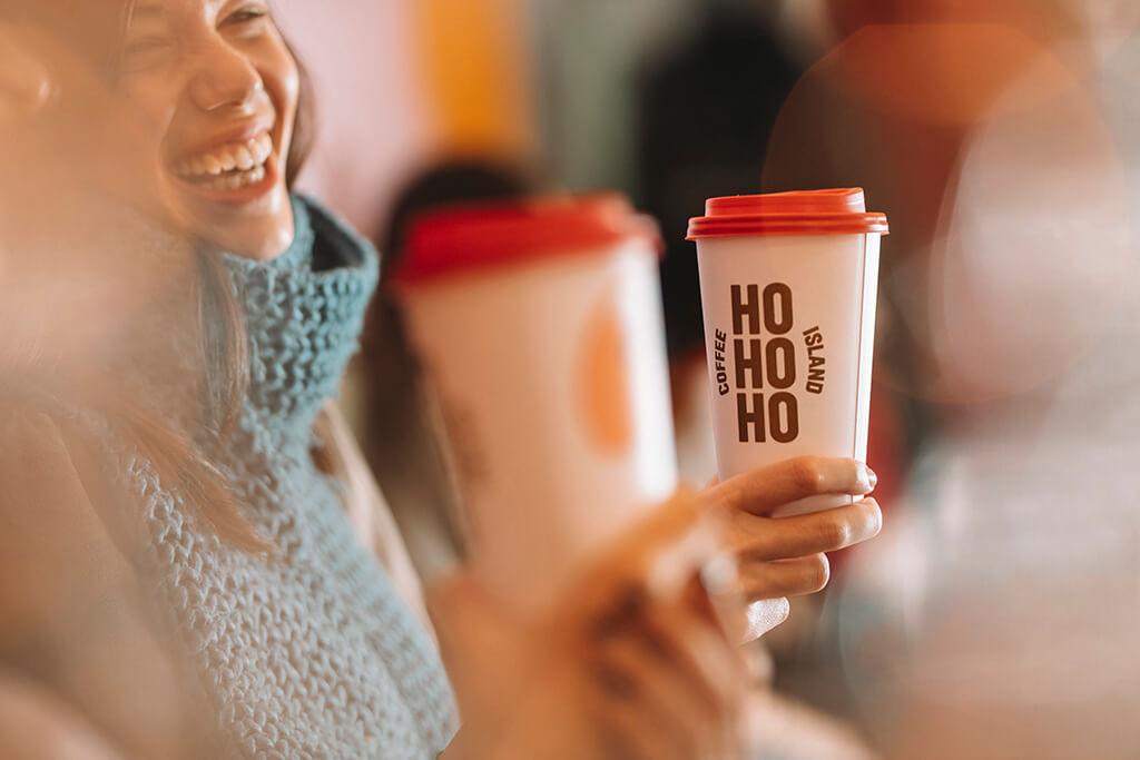 Santa and HOHOHO Coffee Island Christmas cups