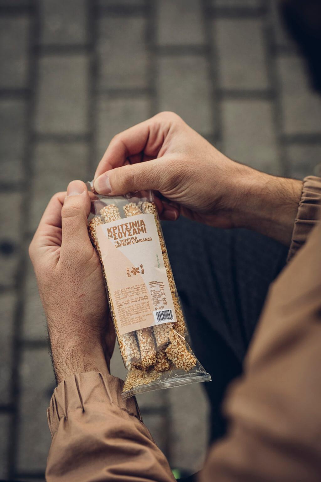Coffee Island's new breadsticks with sesami seads.