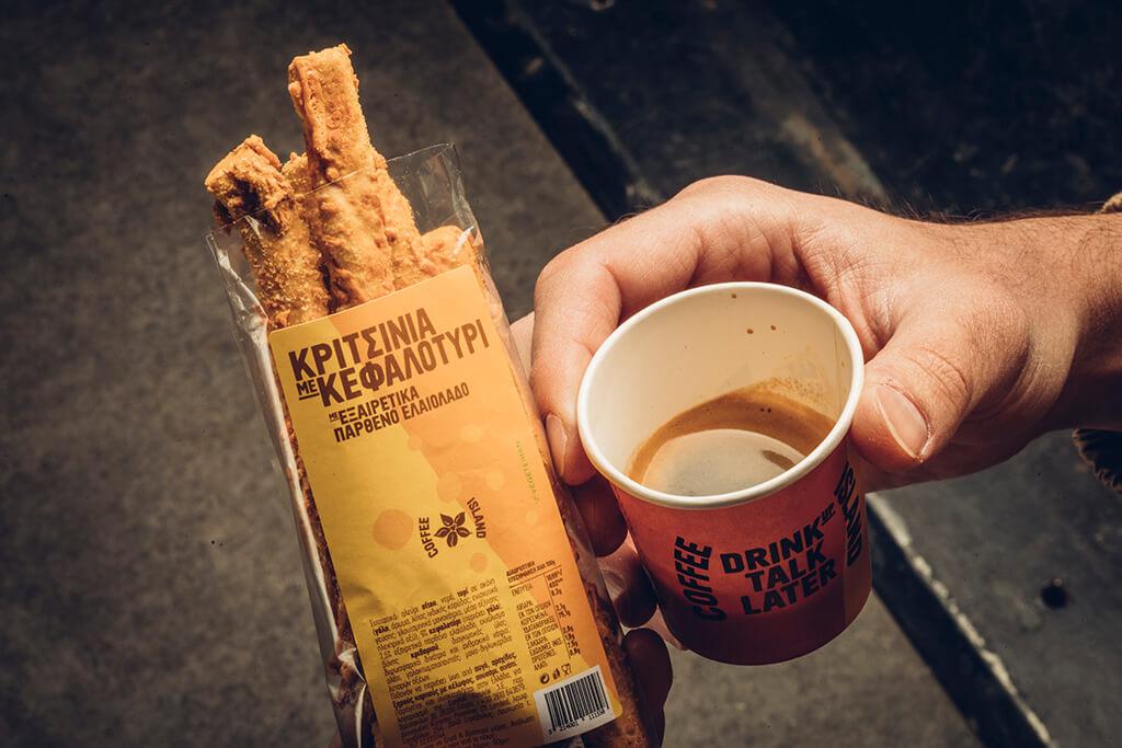 Coffee Island's new breadsticks with kefalotyri served with coffee.