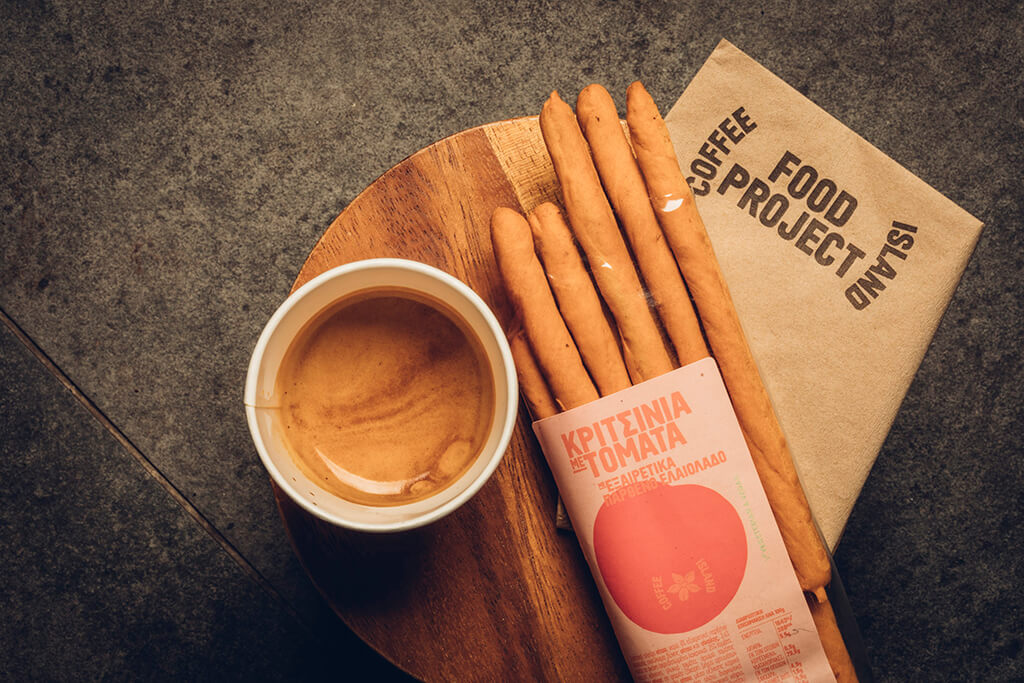 Coffee Island's new breadsticks with tomato served with coffee.