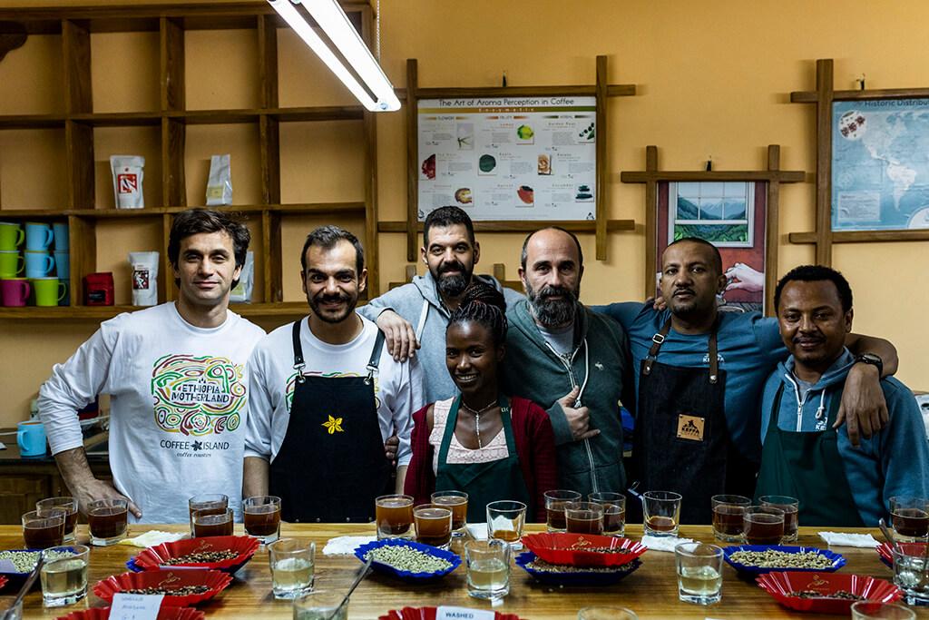 Coffee Island staff with Ethiopian coffee producers.