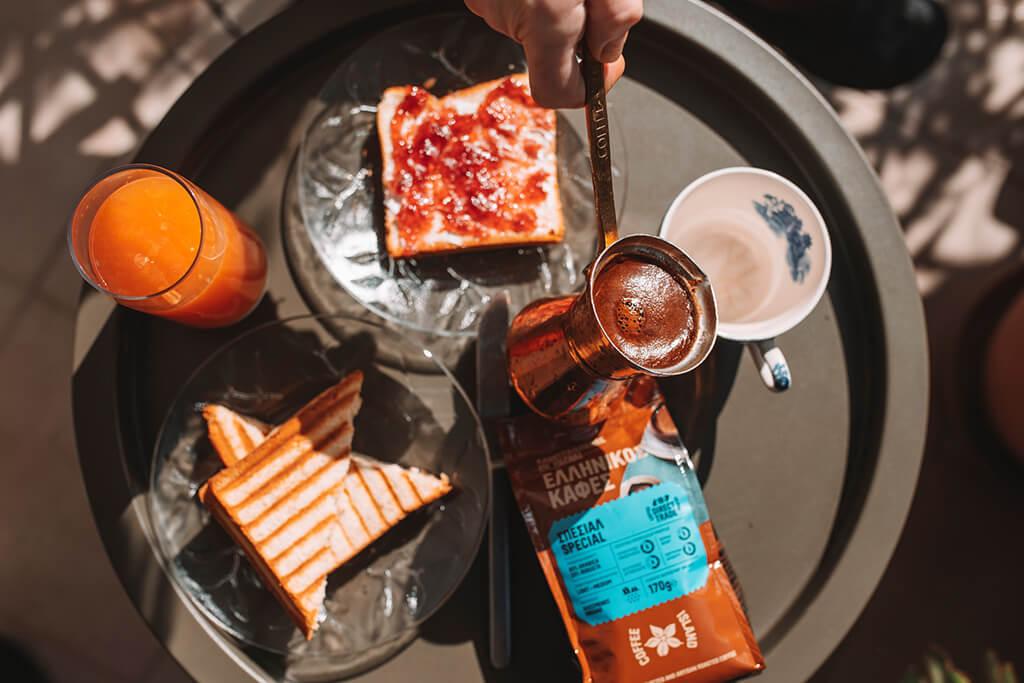 People enjoying their breakfast with Coffee Island's special ibrik coffee