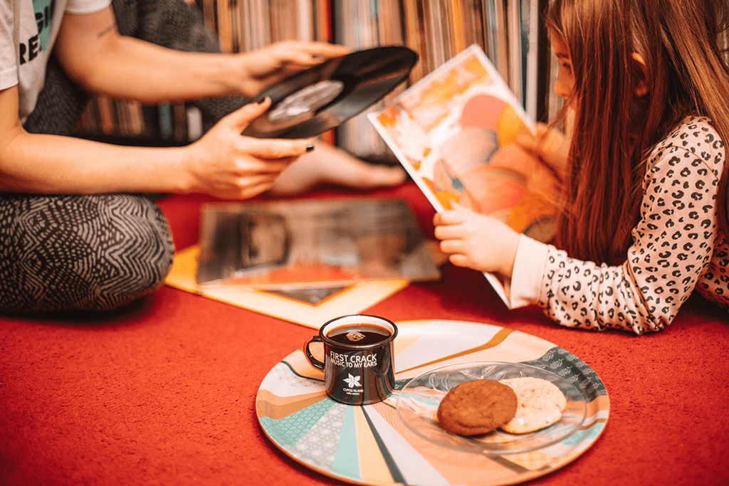 Enjoying family moments with Coffee Island's filter coffee and biscuits.