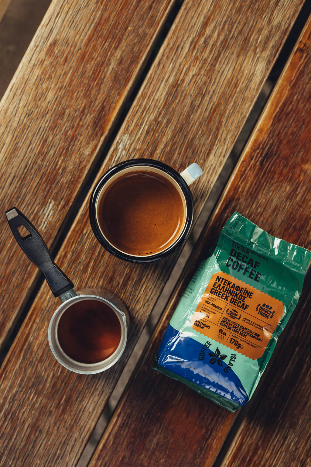 Coffee Island's ibrik decaf coffee.