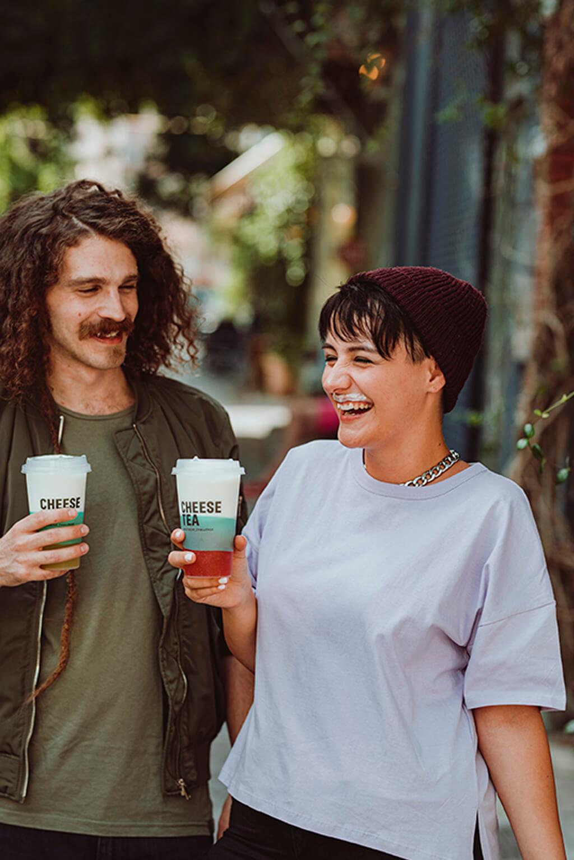 Coffee Island's Cheese Tea mustache challenge.