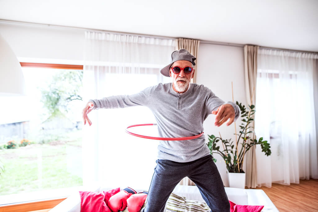 Old man doing a dancing challenge.