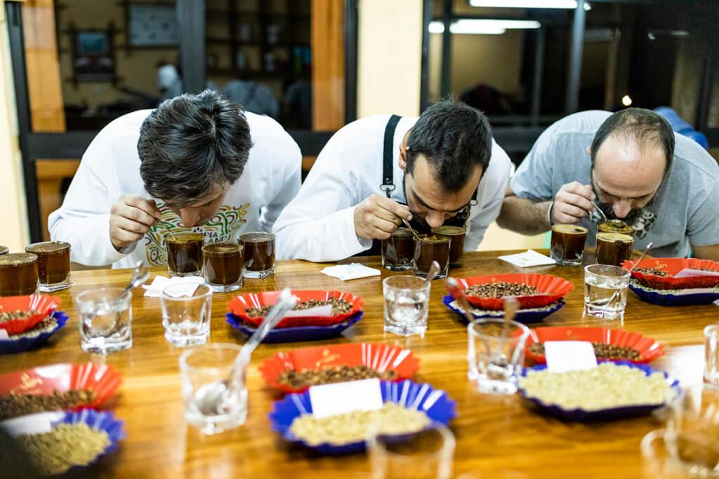 Coffee Island's staff tasting coffee in Ethiopia.