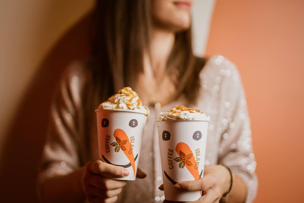 Coffee Island's caramel bond latte and caramel bond chocolate.