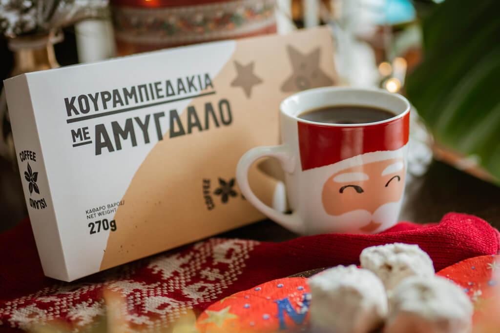 Coffee Island's almond kourabiedes and Coffee Island's Santa Claus mug.