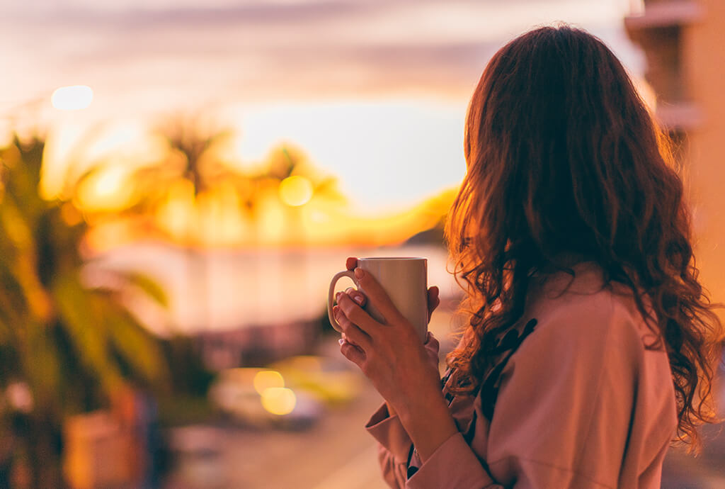woman drinking afternoon coffee