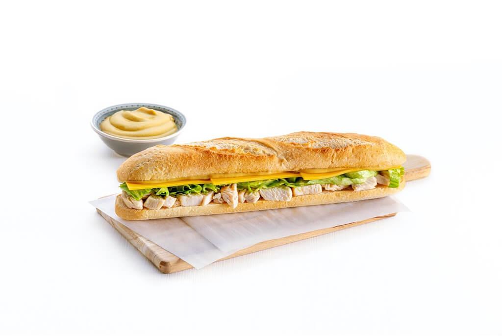 chicken sandwich with mustard